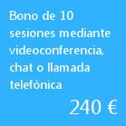 Bono de 10 sesiones mediante videoconferencia, chat o llamada telefónica